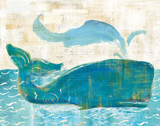 On The Waves Whale Spray Wallpaper Mural