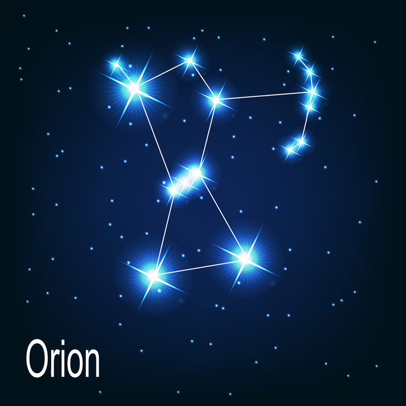 """The constellation """"Orion"""" shines brilliantly against a dark midnight blue background"""