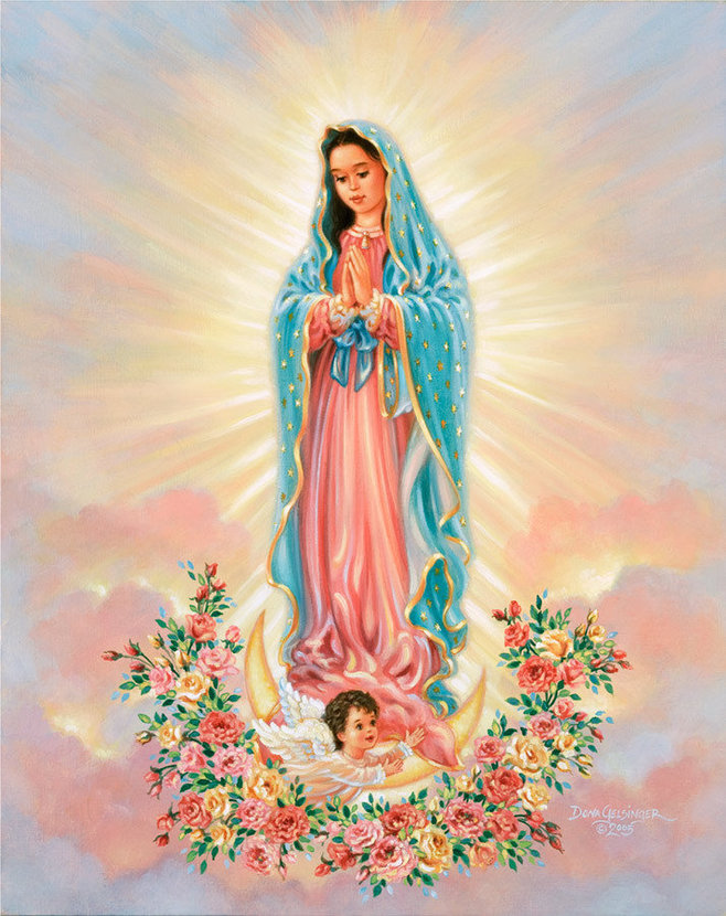 Picture of Our Lady of Guadalupe or the Virgin Mary with a cherub and surrounded by beautiful flowers
