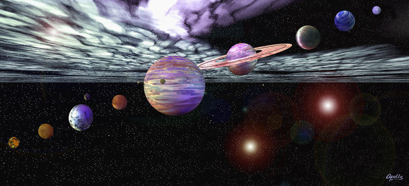 Solar system wallpaper mural with planets and moons in space surrounded by stars and solar dust