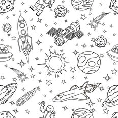 Outer Space Doodle Wall Mural