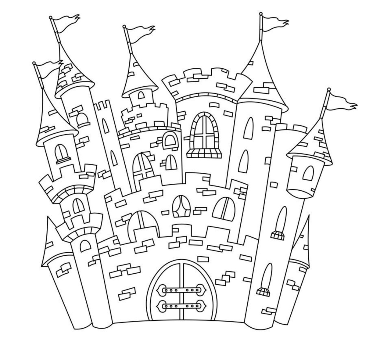 colorable outline of fairy tale castle