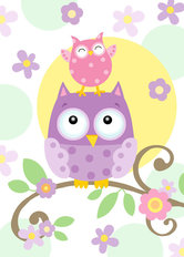 Owl Friends Wallpaper Mural