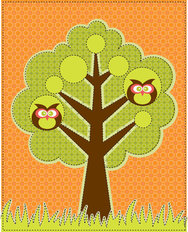 Owls in the Tree Wallpaper Mural