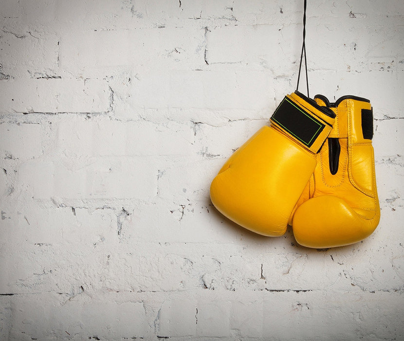 Yellow Boxing Gloves Wall Mural