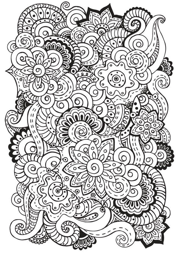 Mandala coloring page with paisley flowers, floral doodles, zentangle illustrations, and other patterns