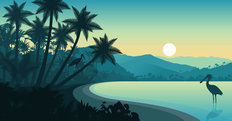Palm Tree Landscape Silhouette Wall Mural