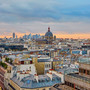 Paris skyline with a dramatic and colorful sunset
