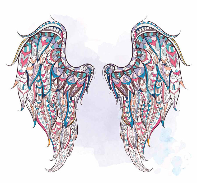 Patterned Wings On Grunge Wall Mural
