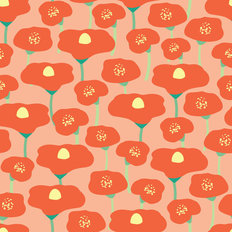 Peachy Poppy Pattern Wallpaper