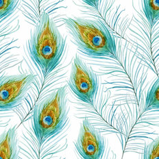 Peacock Feather Pattern Wallpaper