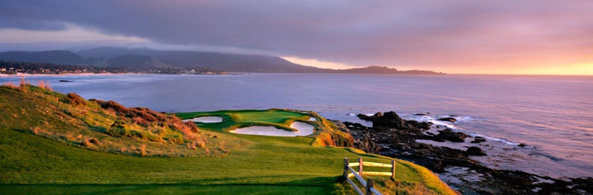 Pebble Beach Golf Links - 7th Hole Panoramic Mural Wallpaper