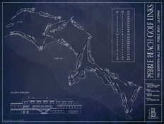 Pebble Beach Golf Links Blueprint Wallpaper Mural