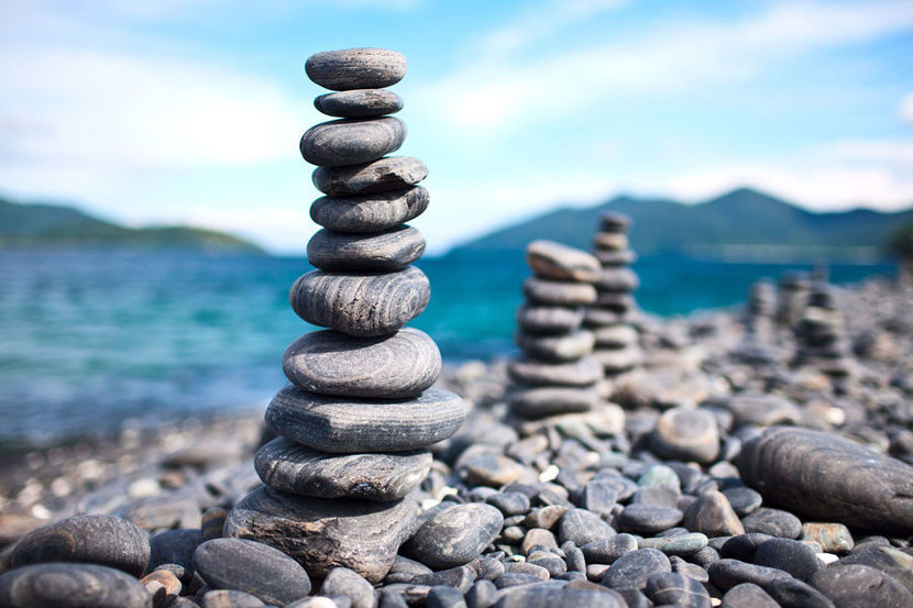 Tower of rock pebbles