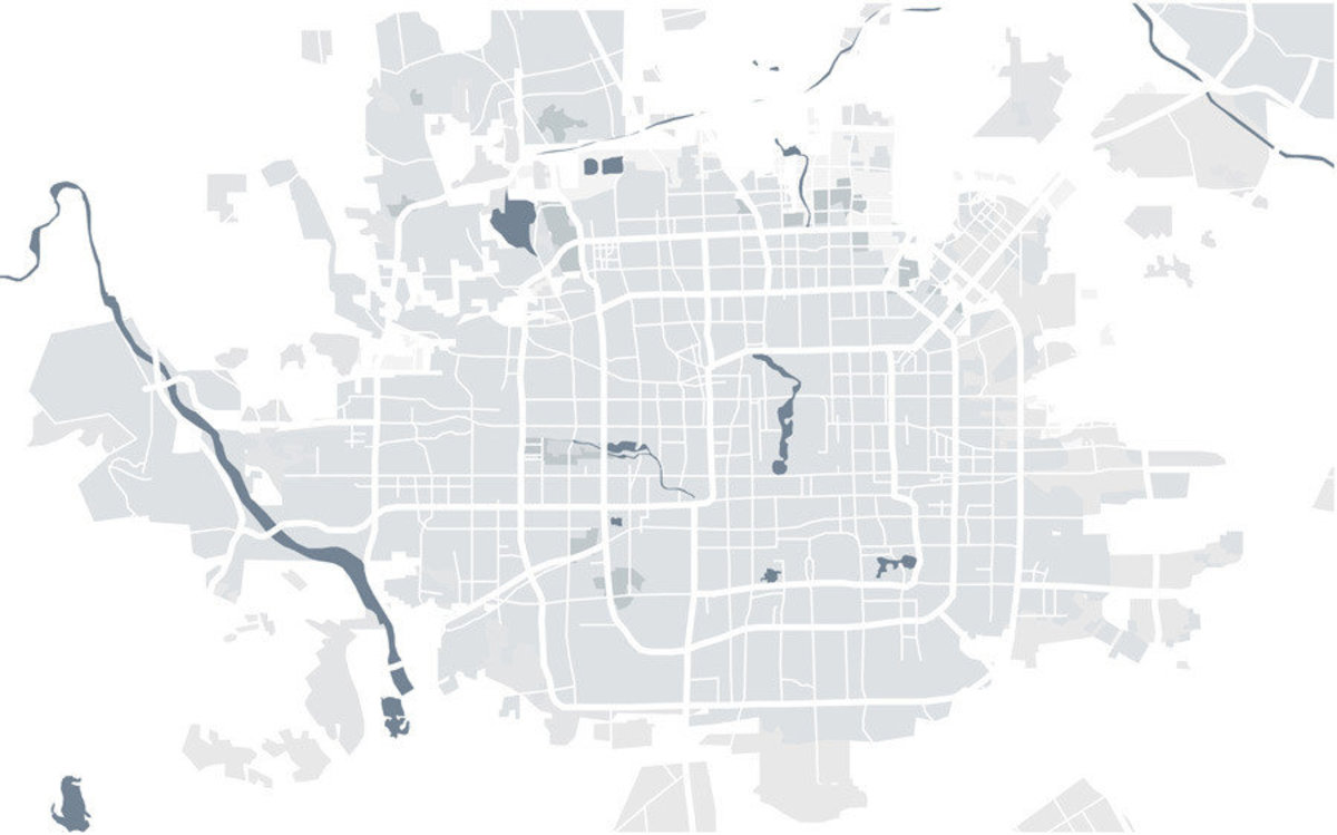 map of city of Peking and its many roads and rivers