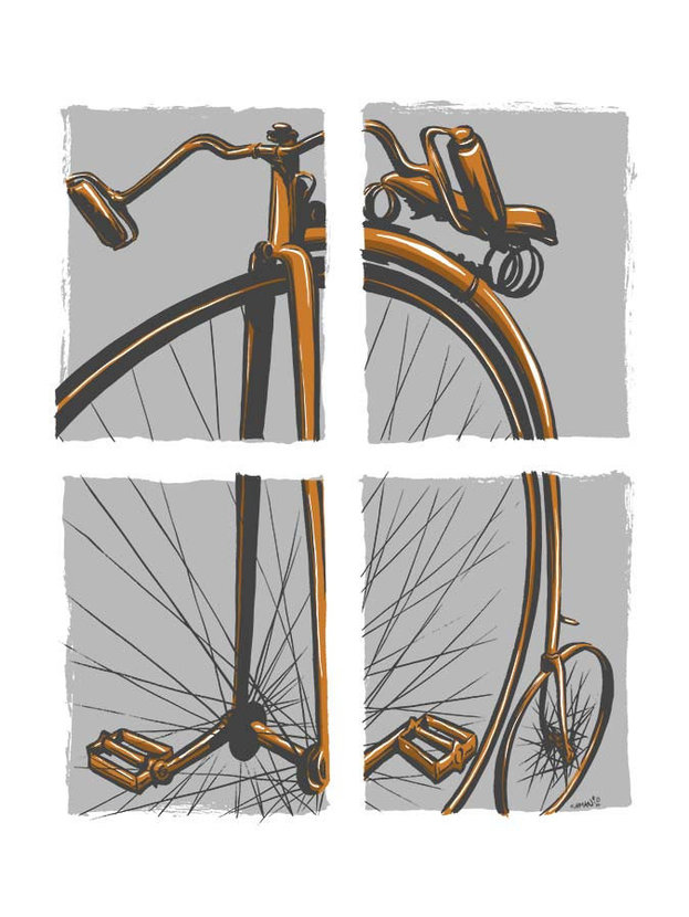 illustration divided into four grey squares, each containing a piece of a penny-farthing high wheeler
