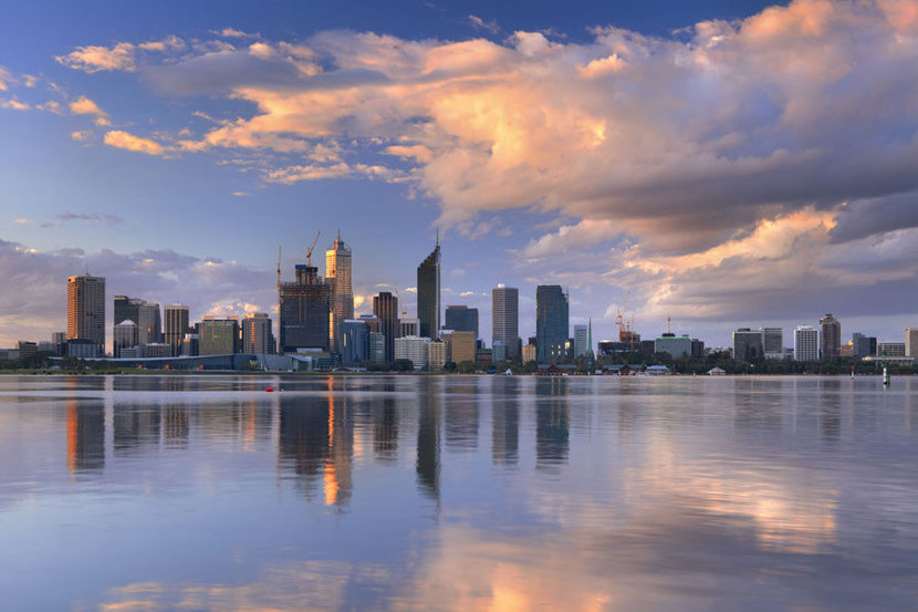 Perth Skyline features the Australian City from across the Swan River.
