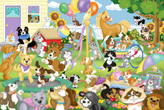 Pet Party Wallpaper Mural