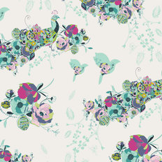 Petal and Plume - Peacock Waltz Festal Wallpaper