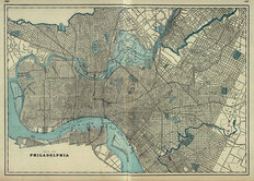 Philadelphia PA 1901 Map Wall Mural