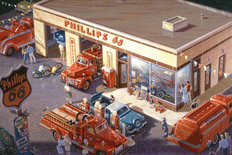 Phillips 66 - 50's Mural Wallpaper