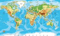 Physical Map Of The World Mural Wallpaper