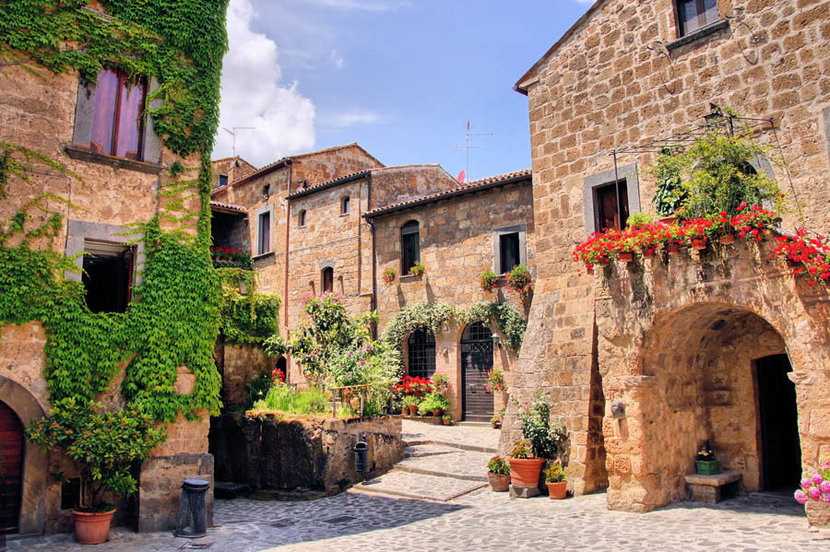 Picturesque Corner Of A Quaint Hill Town in Italy Wall Mural