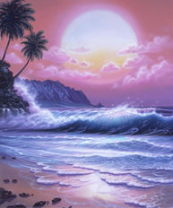 Pink Aloha Moon Mural Wallpaper