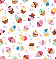 Pink Cupcake Pattern Wallpaper