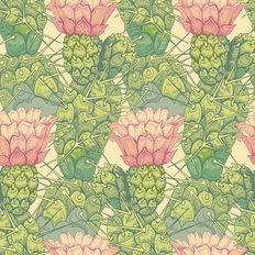 Pink Floral Cacti Pattern Wallpaper
