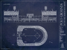 Polo Grounds Blueprint Wallpaper Mural