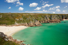 Porthcurno Beach, England Mural Wallpaper