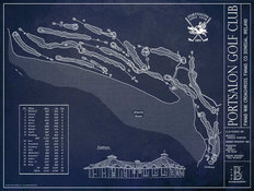 Portsalon Golf Club Blueprint Wall Mural