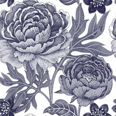 Pretty Peony Pattern - Blue Wallpaper