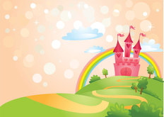 Princess Castle With Rainbow Wallpaper Mural