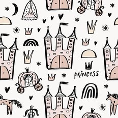 Princess Doodle Pattern Wallpaper