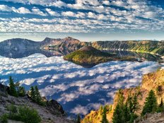 Puffy Cloud Reflection Over Crater Lake and Wizard Island Wall Mural