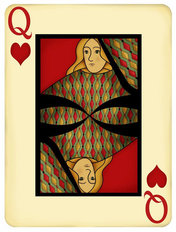 Queen Playing Card Mural Wallpaper