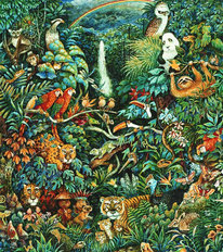 Rainbow Rainforest Mural Wallpaper