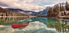 Red Canoe on Emerald Lake Mural Wallpaper