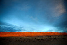 Red Cliff Blue Sky Mural Wallpaper