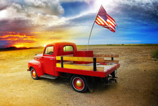 American Vintage Red Truck Mural Wallpaper