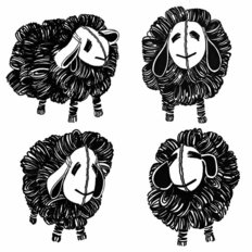 Retro Black And White Sheep Pattern Mural Wallpaper