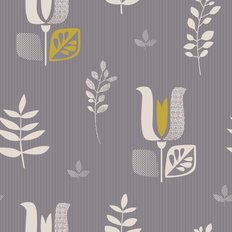 Retro Folk Art Tulip Pattern Wallpaper
