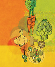 Retro Veggies - Yellow Mural Wallpaper