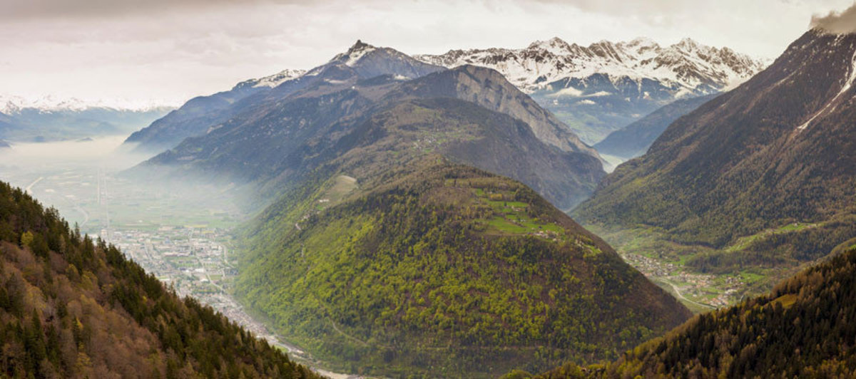 panorama of the European Rhone valley region in Southern France