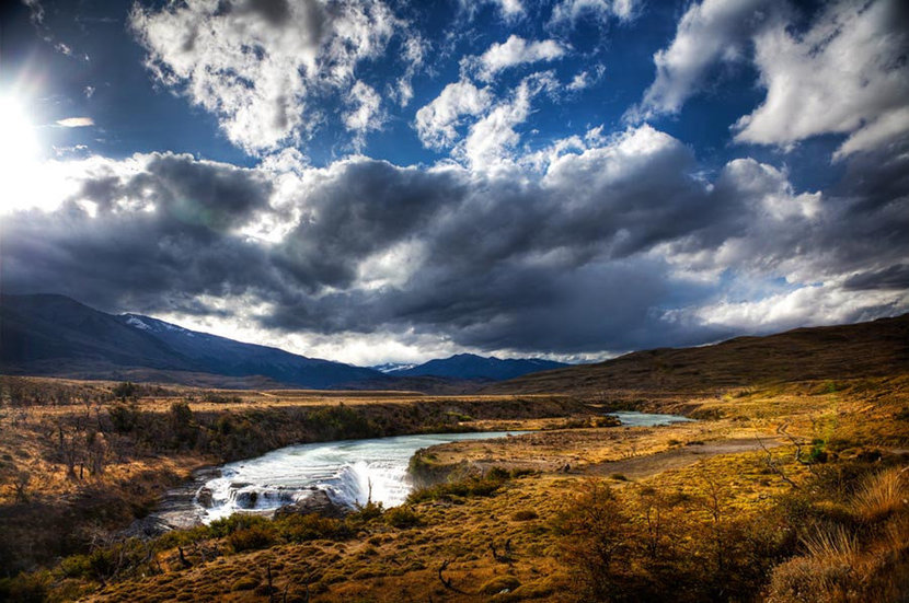 River Valley with Clouds and Sun Wallpaper Mural