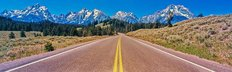 Road Leading Towards Teton Mountain Range Wall Mural