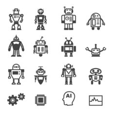Robot Icon Wallpaper Mural
