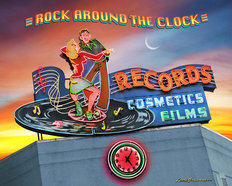 Rock Around the Clock Records Wall Mural